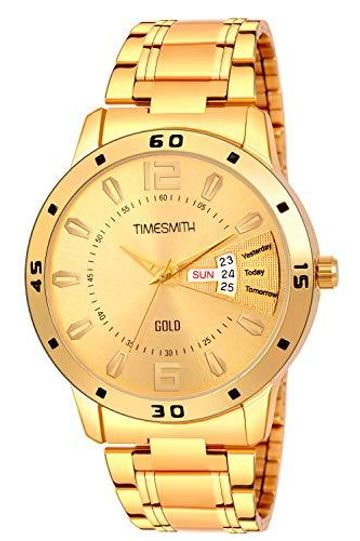 Timesmith | Timesmith Gold Stainless Steel Day Date Watch For Men For Men