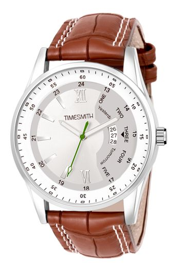 Timesmith | Timesmith White Dial Brown Leather Strap Day Date Men's Watch TSC-126 For Men