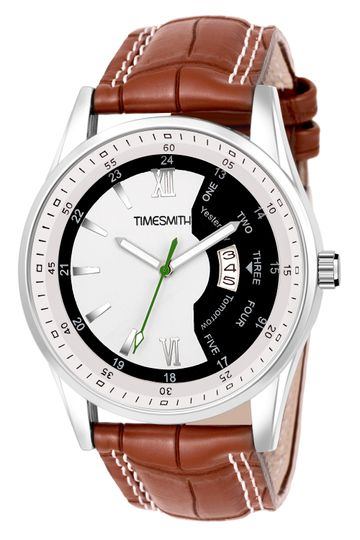 Timesmith | Timesmith White Dial Brown Leather Strap Day Date Men's Watch TSC-127 For Men