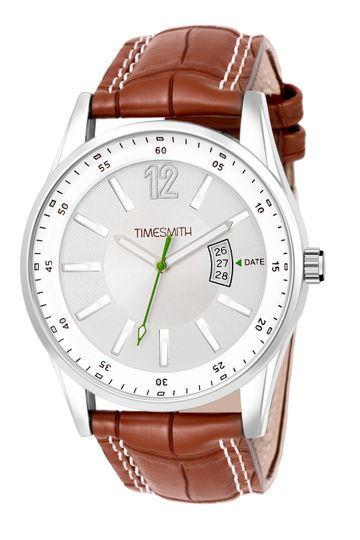 Timesmith | Timesmith White Dial Brown Leather Strap Day Date Men's Watch TSC-128 For Men