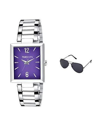 Timesmith | Timesmith Silver Stainless Steel Purple Dial Watch For Men with Free Sunglasses TSC-132-wmg-002 For Men
