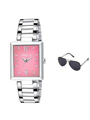 Timesmith | Timesmith Silver Stainless Steel Pink Dial Watch For Men with Free Sunglasses TSC-133-wmg-002 For Men