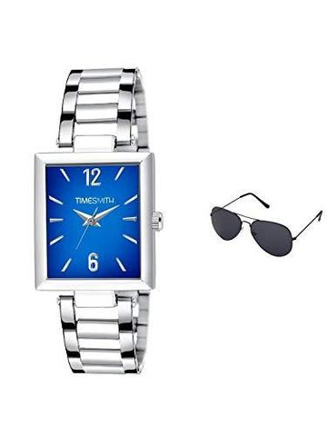 Timesmith | Timesmith Silver Stainless Steel Blue Dial Watch For Men with Free Sunglasses TSC-134-wmg-002 For Men
