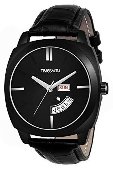 Timesmith   Timesmith Day Date Black Leather Black Dial Watch For Men TSC-138 For Men
