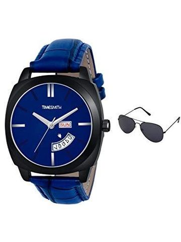 Timesmith | Timesmith Day Date Blue Leather Blue Dial Watch For Men with Free Sunglasses TSC-139-wmg-002 For Men
