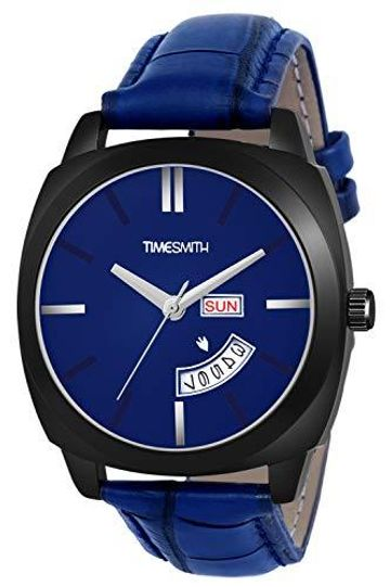 Timesmith | Timesmith Day Date Blue Leather Blue Dial Watch For Men TSC-139 For Men