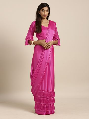 SATIMA | Satima PinkGeorgettetassel lace border Saree