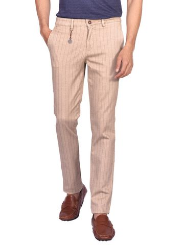 Turtle | Brown Stripes Cotton Stretch Trouser