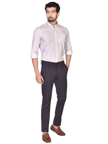 Turtle | Navy Blue Relaxed Wash Checks Trouser