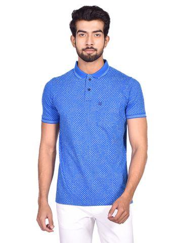 Turtle | Blue KNITTED FASHION  PRINTS POLO T - Shirt