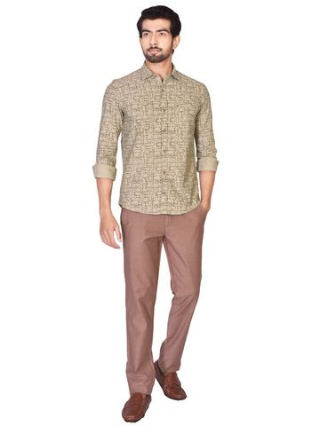 Turtle | Olive Relaxed Wash Prints Shirt