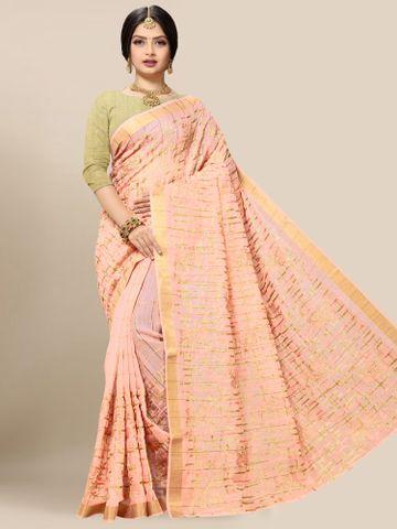 SATIMA | Latest Orange Embroidered Solid Cotton Blend Saree