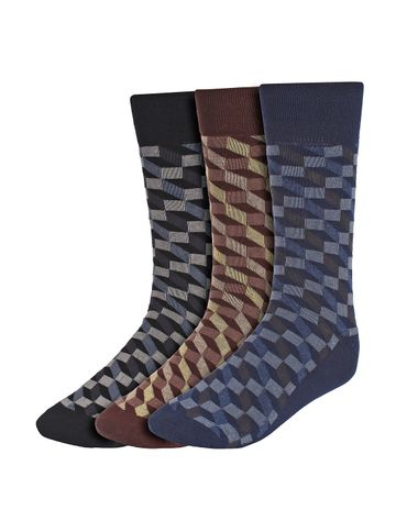 CREATURE | CREATURE Men's Cotton Calf Length Check Print Formal Socks Combo of 3