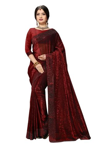 SATIMA | Fancy Ethnic Wear Red Brasso Saree