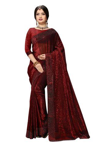 SATIMA   Fancy Ethnic Wear Red Brasso Saree
