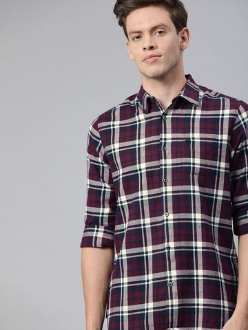 The Bear House | Men's Maroon Checkered Flannel Shirt