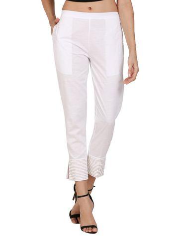DEVS AND DIVAS | DEVS AND DIVAS WHITE Linen Zari Pant Trouser For Women