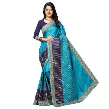 SATIMA   Elegant Sky Blue Silk Blend Embroidered Saree