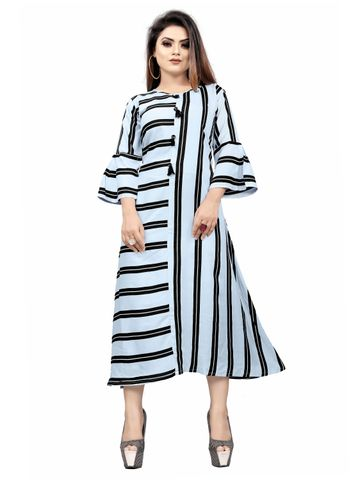 SATIMA | White Black Colored Striped Casual Rayon Kurti
