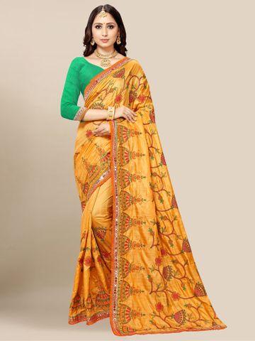 SATIMA | Women's Orange Embroidery Silk Blend Mirror Work Saree