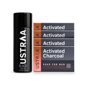 Ustraa | Ustraa Black Deodorant 150 ml & Activated Charcoal Soap 100g (Pack of 4)