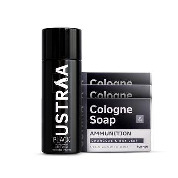 Ustraa   Ustraa Black Deodorant - 150 ml & Ammunition Cologne Soap - ( Pack of 3)