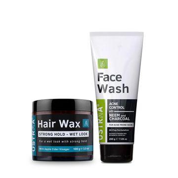 Ustraa   Ustraa Hai Wax - Wet Look & Face Wash (Neem & Charcoal)200g