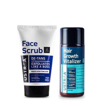 Ustraa   Ustraa Hair Growth Vitalizer 100 ml and De Tan Face Scrub 100 g