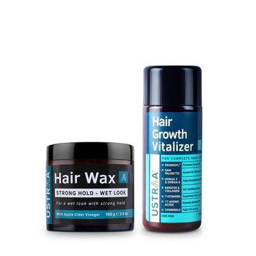 Ustraa | Ustraa Hair Growth Vitalizer 100 ml and Hair Wax Wet Look 100 g