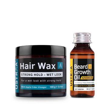 Ustraa | Ustraa Beard Growth Oil – Advanced 60 ml & Hair Wax Wet Look 100 g