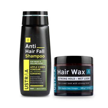 Ustraa | Ustraa Hair Wax Wet Look 100 g & Anti Hair Fall Shampoo 250 ml