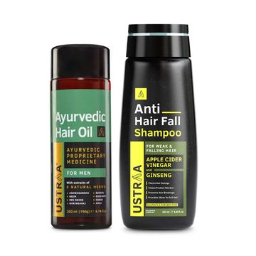 Ustraa | Ustraa Ayurvedic Hair Oil 200 ml & Anti Hair Fall Shampoo 250 ml
