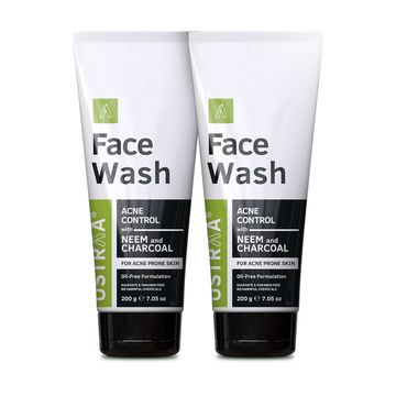 Ustraa   Ustraa Face Wash Acne Control - With Neem & Charcoal - 200g Set of 2