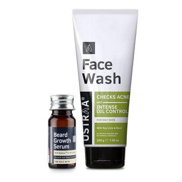 Ustraa   Ustraa Beard Growth Serum - 35ml and Face Wash Oily Skin - 200g