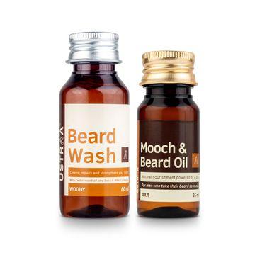 Ustraa   Ustraa Beard Oil 4x4 (35ml) and Beard Wash Woody - 60ml