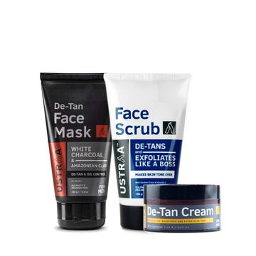 Ustraa | Ustraa De- Tan Face Scrub 100 g, De- Tan Face Cream 50g & Face Mask Oily Skin 125 g