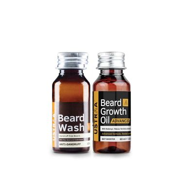 Ustraa | Ustraa Beard Growth Oil Advanced 60ml &  Anti Dandruff Beard Wash 60 ml