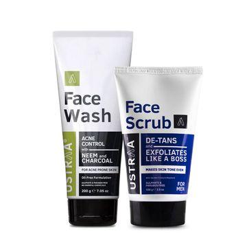 Ustraa | Ustraa Face Wash (Neem & Charcoal) 200g & De Tan Scrub 100g