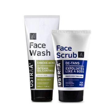 Ustraa | Ustraa Face Wash Oily Skin (200g) & Face Scrub De-Tan 100 g