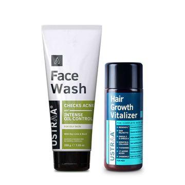 Ustraa | Ustraa Hair Growth Vitalizer 100 ml &  Face Wash Oily Skin 200g