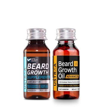 Ustraa | Ustraa Beard Growth Oil Advanced 60ml and Beard Growth Supplement-60ml Hair Oil