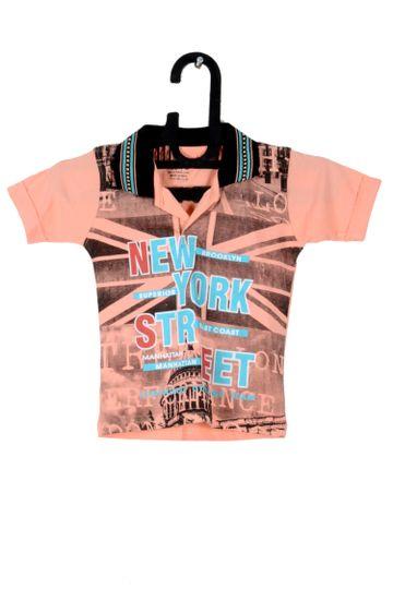 V Brown   Peach Cotton Printed Polo Neck Boy T-shirt