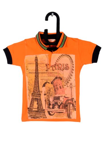 V Brown | Orange Cotton Printed Polo Neck Boy T-shirt