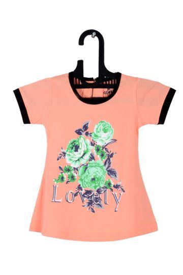 V Brown   Peach Cotton Printed Round Neck Girls Top