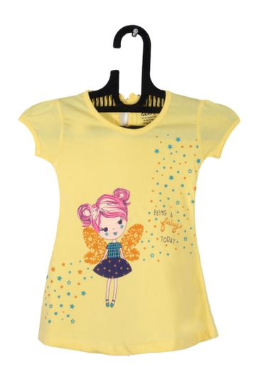 V Brown | Yellow Cotton Printed Round Neck Girls Top