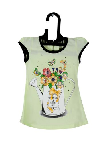 V Brown | Green Cotton Printed Round Neck Girls Top