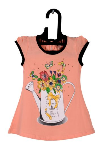 V Brown | Peach Cotton Printed Round Neck Girls Top