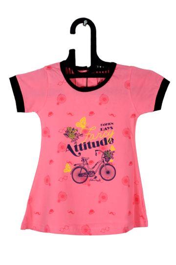 V Brown   Pink Cotton Printed Round Neck Girls Top