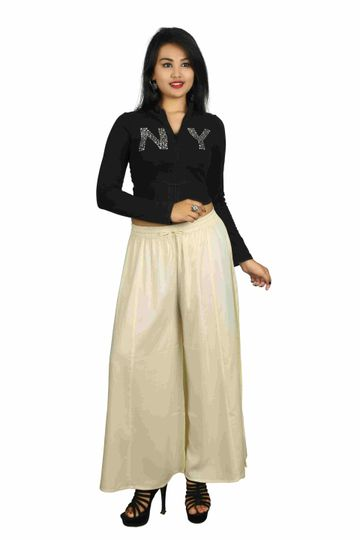 V Brown | Cream Solid Women's Rayon Casual Wear Palazzo