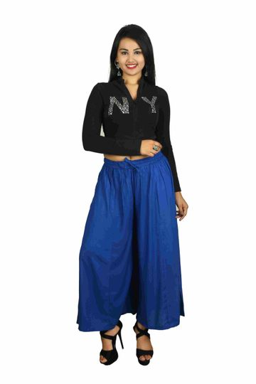 V Brown | Blue Solid Women's Rayon Casual Wear Palazzo